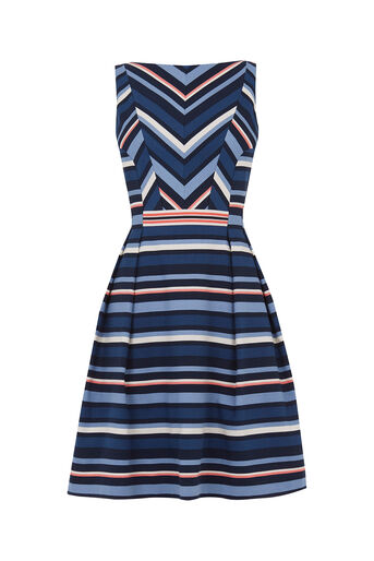 Oasis, Chevron Stripe Dress Multi Blue 0