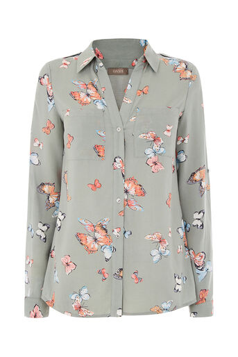 Oasis, CLUSTER BUTTERFLY SHIRT Khaki 0