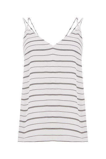 Oasis, STRIPE V FRONT V BACK VEST Black and White 0