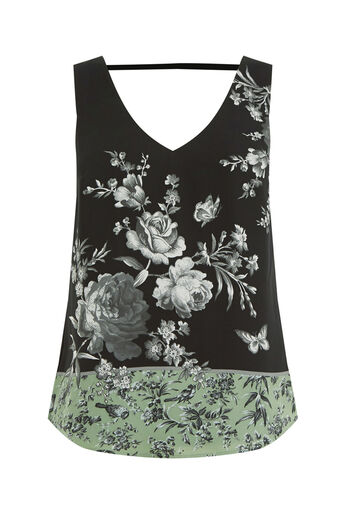 Oasis, CHINTZ PATCHED VEST Multi Green 0