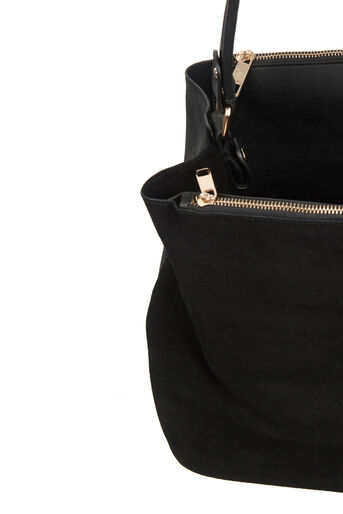 Oasis, HONOUR SUEDE PATCHED HOBO BAG Black 4