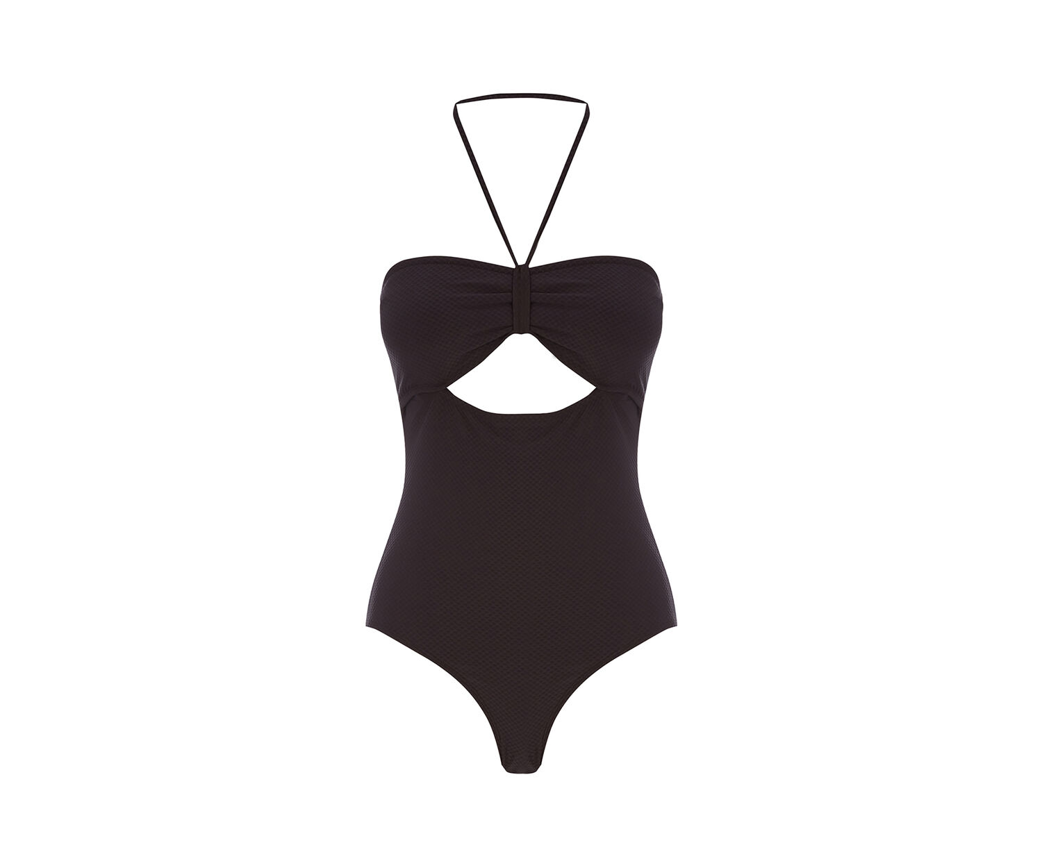 Oasis, PLAIN TEXTURED SWIMSUIT Black 1