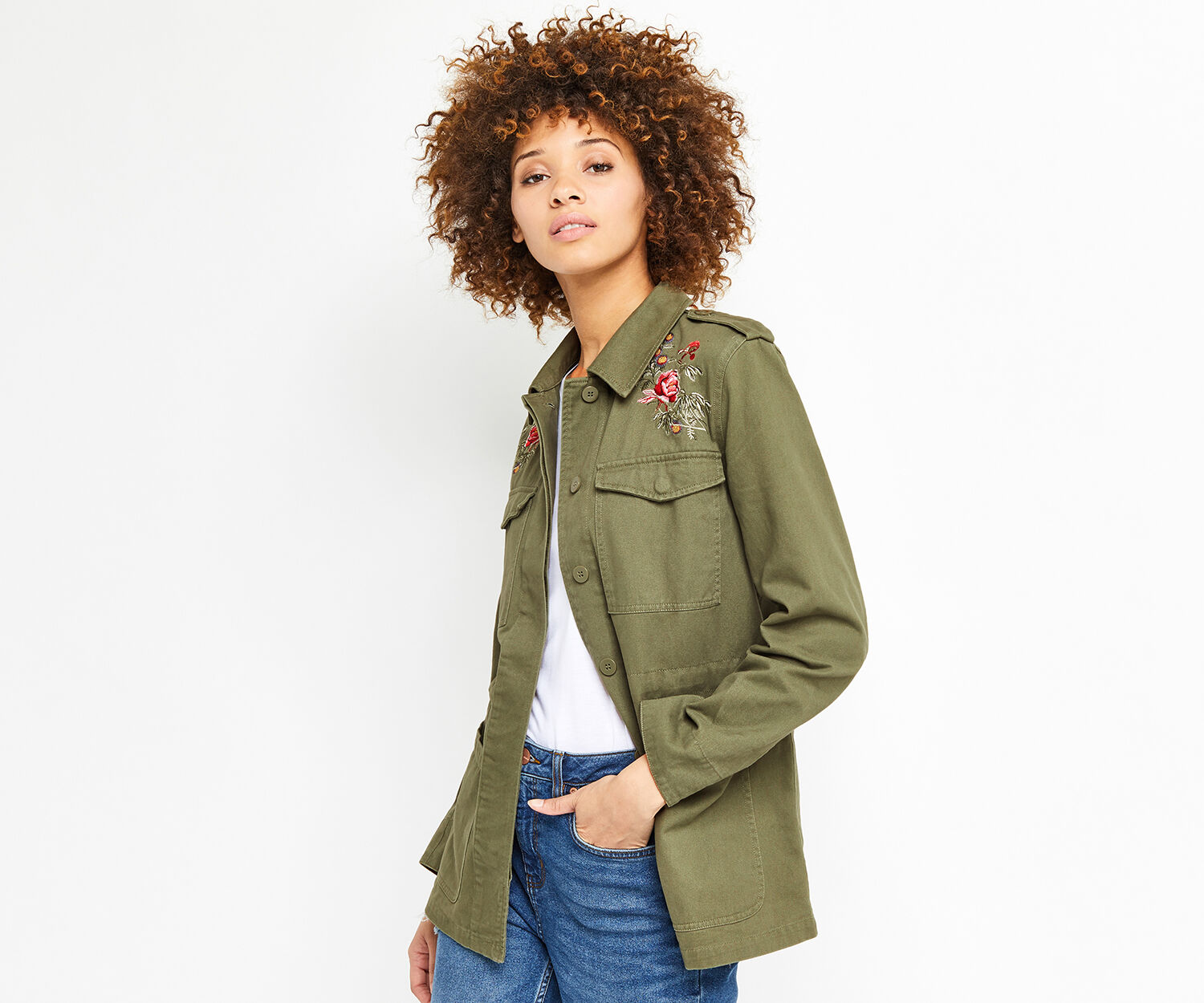 Oasis, ROSE EMBROIDERED UTILITY JACKE Khaki 1