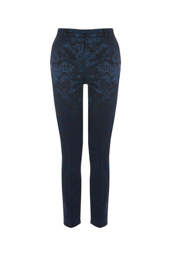 Oasis, BAMBOO JACQUARD TROUSER Navy 0