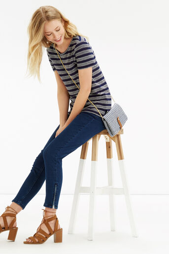 Oasis, Textured Wiggle Stripe T-Shirt Navy 2