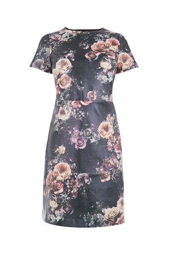Oasis, FLORAL FAUX LEATHER DRESS Multi 0