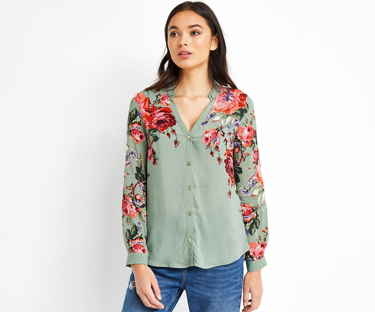 Oasis, ROSE PLACEMENT SHIRT Multi Green 1