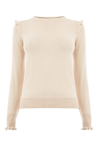 Oasis, FRILL SHOULDER & CUFF KNIT Light Neutral 0