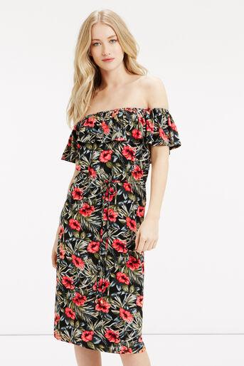Oasis, Waikiki Print Ruffle Dress Multi 1