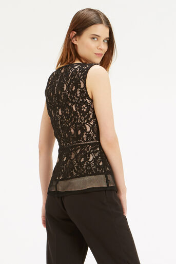 Oasis, Patched Lace Peplum Top Black 3
