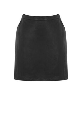 Oasis, Sophia Leather Mini Skirt Black 0