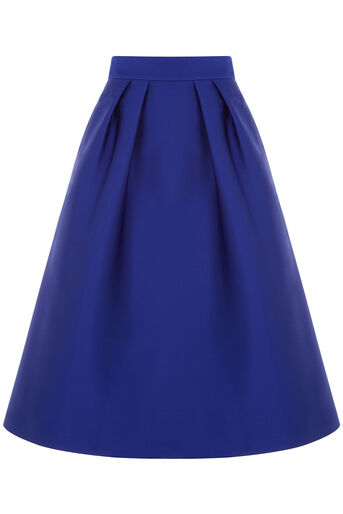 Oasis, SATIN TWILL MIDI SKIRT Cobalt Blue 0