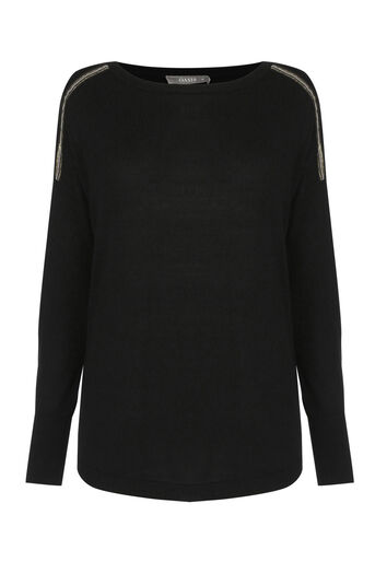 Oasis, ALICE KNITTED TOP Black 0