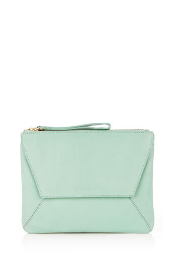 Oasis, LEATHER CLUTCH Pale Green 0