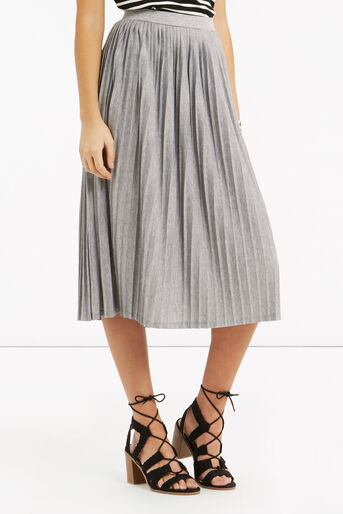 Oasis, Pleated Skirt Pale Grey 1