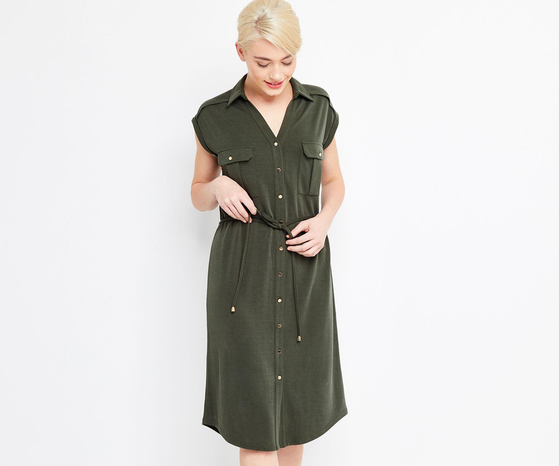 Oasis, LONG SOFT SHIRT DRESS Khaki 1
