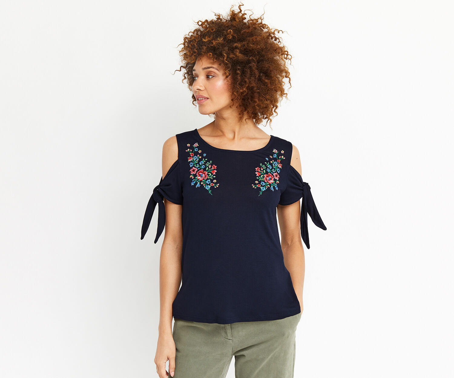 Oasis, EMBROIDERED TIE SLEEVE TEE Navy 1