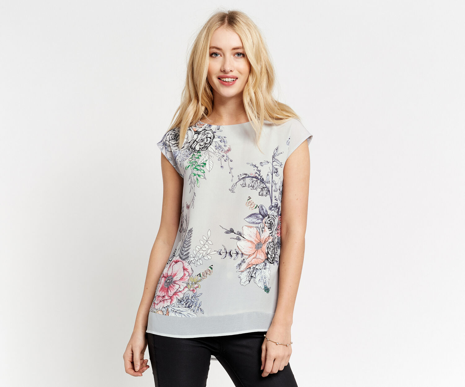 Oasis, FOREST PLACEMENT TEE Multi Grey 1