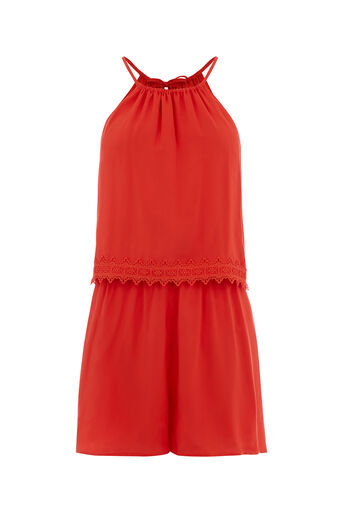 Oasis, VISCOSE TRIM PLAYSUIT Coral 0
