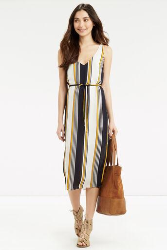 Oasis, Stripe Midi Slip Dress Multi Blue 2