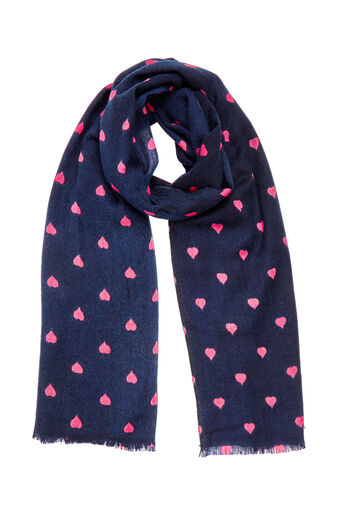 Oasis, HEART BORDER SCARF Navy 0
