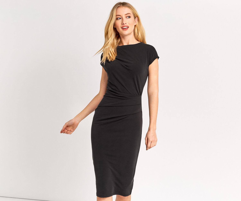 Oasis, cupro drape dress Mid Grey 1
