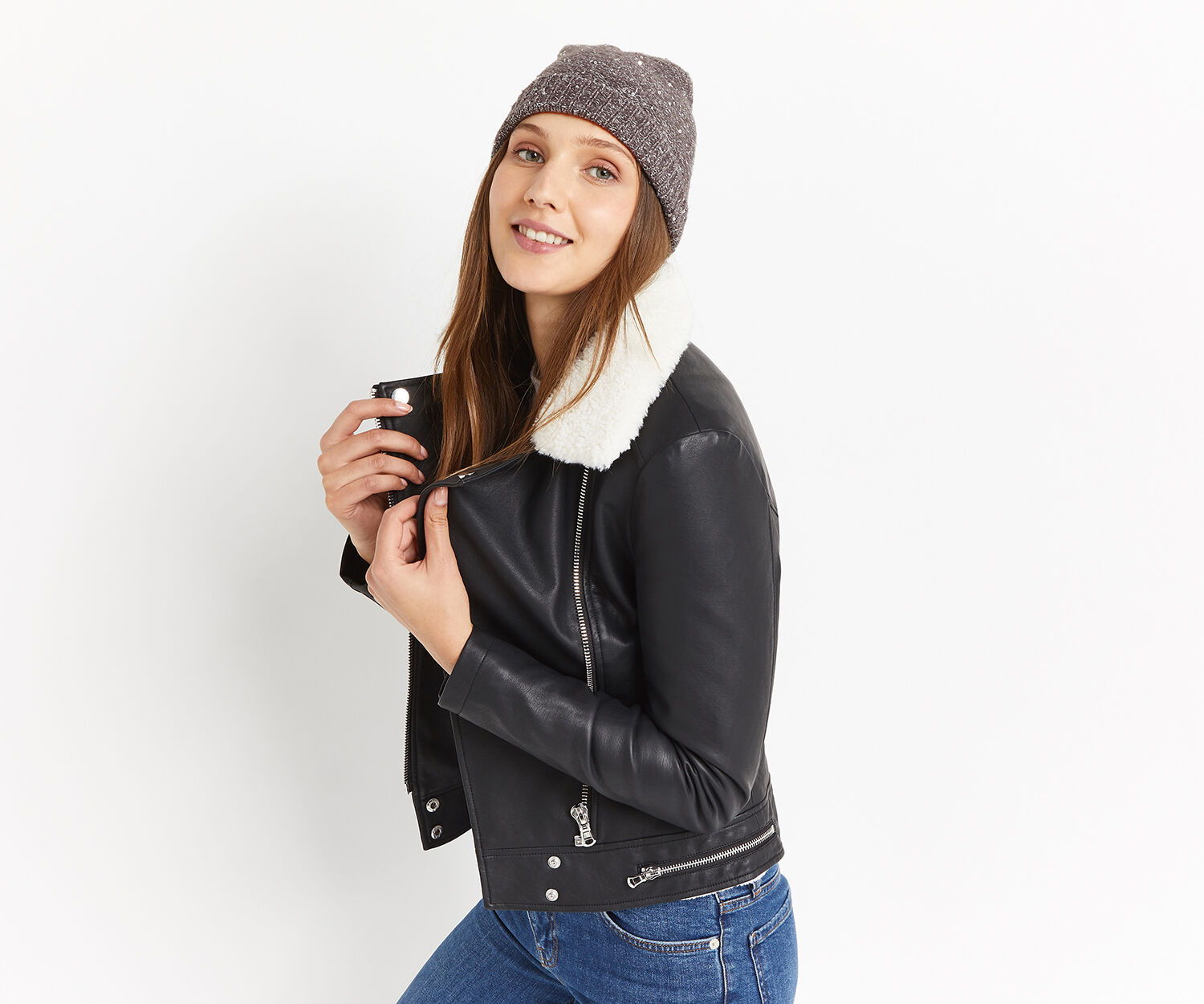 Oasis, SEQUIN KNIT BEANIE Mid Grey 1