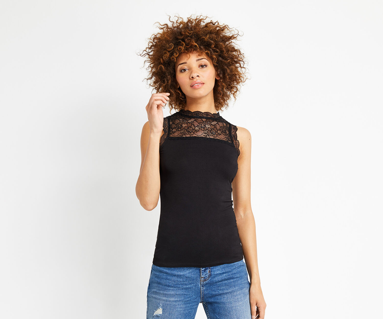 Oasis, LACE INSERT FITTED TEE Black 1