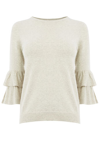 Oasis, DOUBLE FRILL SLEEVE KNIT Light Neutral 0
