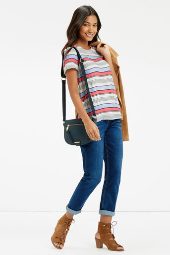 Oasis, Laced Back Stripe T-Shirt Multi Blue 2