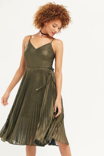 Oasis, Robe mi-longue plissée scintillante Doré 1