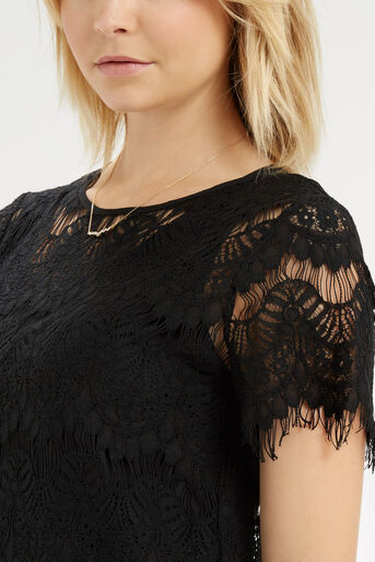 Oasis, Lace Layer T-Shirt Black 4