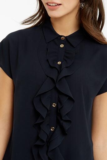 Oasis, Frill Short-Sleeved Shirt Navy 4