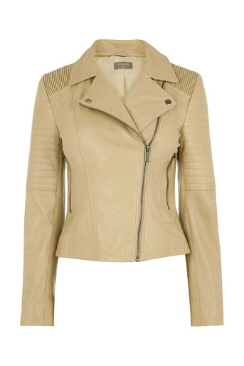 Oasis, Alexa Leather Biker Jacket Tan 0