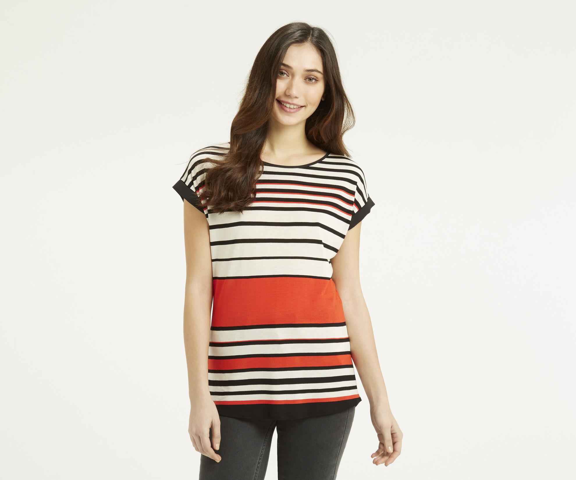 Oasis, Stripe Bretton T-Shirt Mid Orange 1