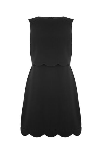 Oasis, SCALLOP LAYER DRESS Black 0