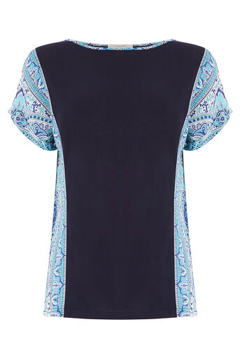 Oasis, SCARF SIDE PATCHED TEE Multi Blue 0