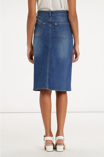 Oasis, Plaited Midi Skirt Denim 3
