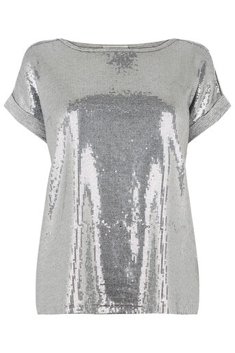 Oasis, sequin panelled tee Pale Grey 0
