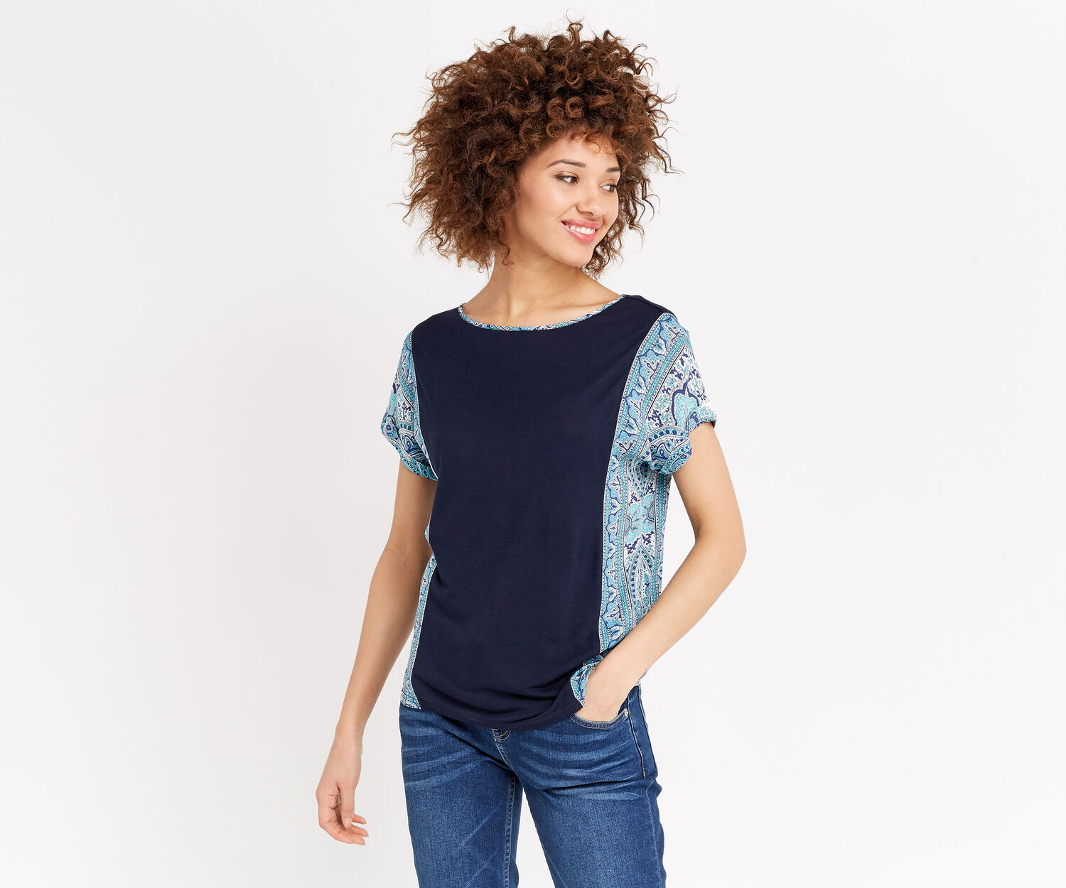 Oasis, SCARF SIDE PATCHED TEE Multi Blue 1