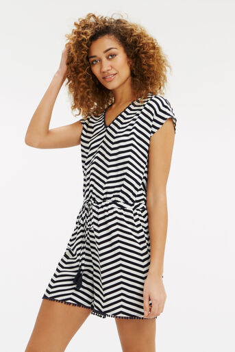 Oasis, Stripe Playsuit Black and White 1