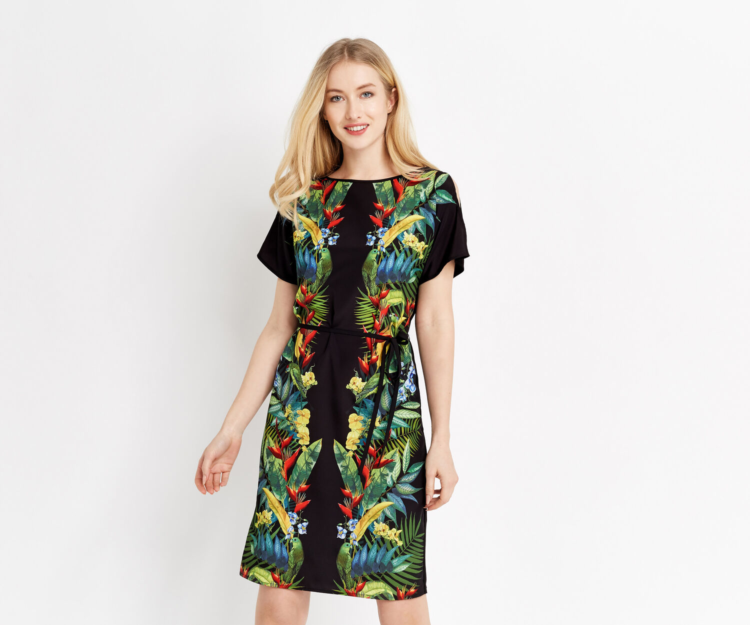 Oasis, TROPICAL COLD SHOULDER DRESS Multi Black 1