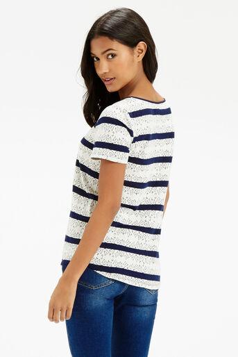 Oasis, Butterfly Stripe T-Shirt Navy 3
