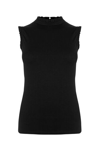 Oasis, Frill Detail Top Black 0