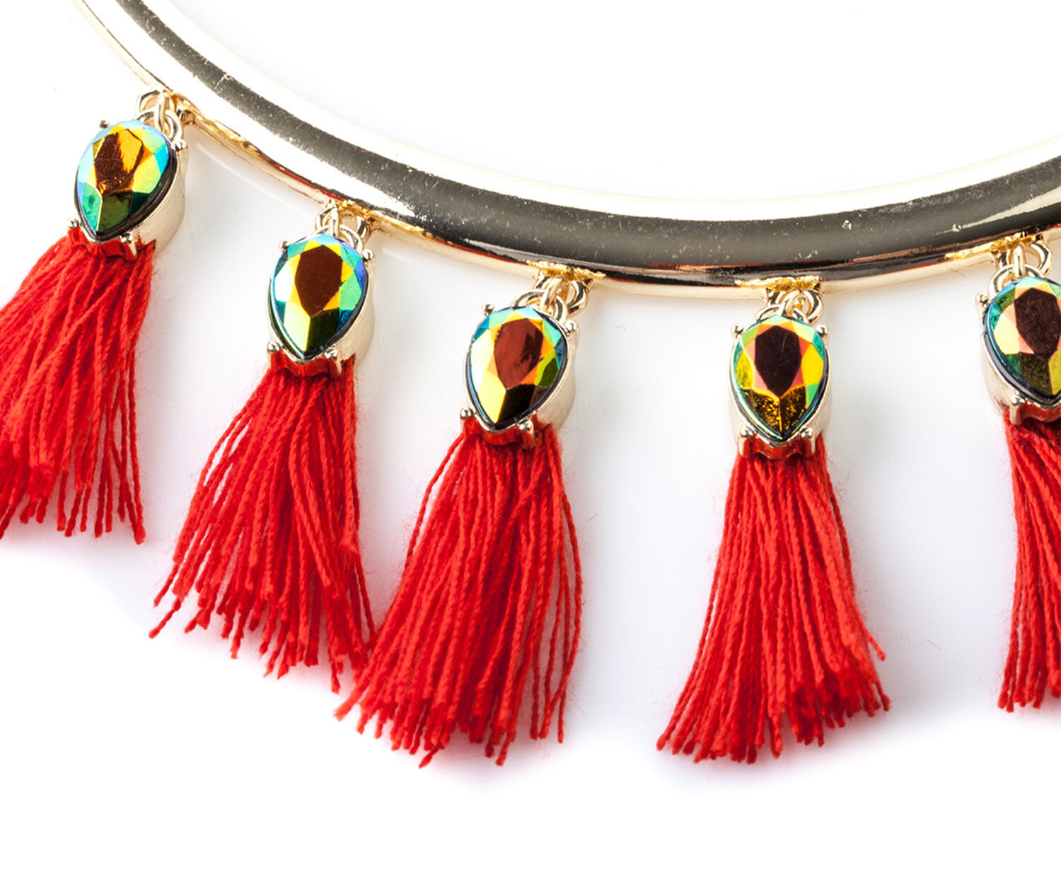 Oasis, TASSEL DROP NECKLACE Mid Red 1