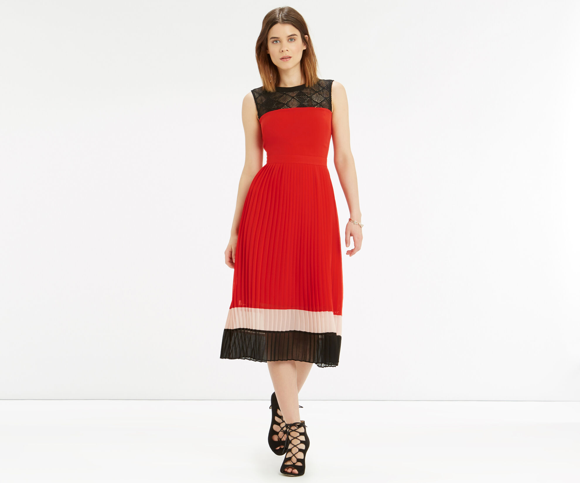 Oasis, Colour Block Pleat Dress Multi 1