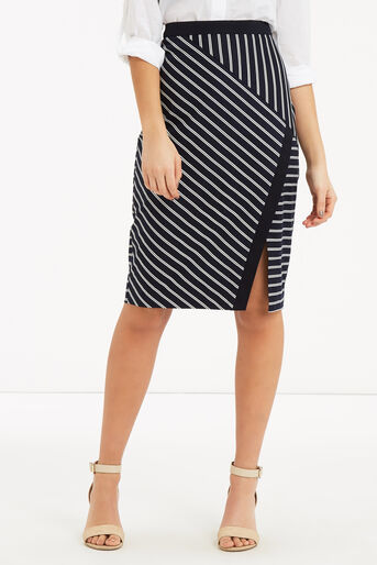 Oasis, Stripe Wrap Pencil Skirt Multi 1
