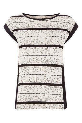 Oasis, FLORAL WIGGLE LACE STRIPE TEE Black and White 0