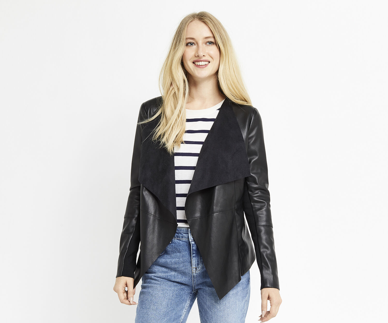 Oasis, FAUX LEATHER WATERFALL JACKET Black 1