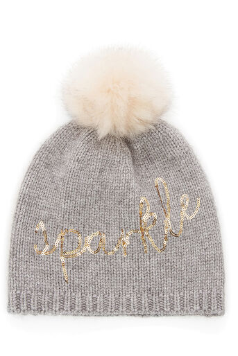 Oasis, SPARKLE EMBROIDERED BEANIE Mid Grey 0